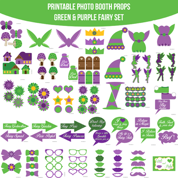 Fairy Green Printable Photo Booth Prop Set