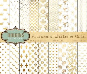 Fairy Princess white and gold digital paper scrapbook fant