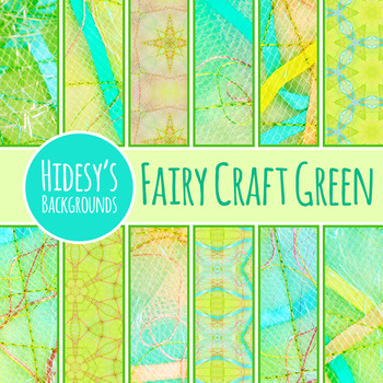 Fairy Tale Digital Papers Green - Ephemeral Stitched Craft