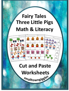Fairy Tale The 3 Little Pigs Math & Literacy Cut and Paste