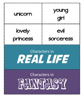 Fairy Tale characters (Real VS Fantasy) - Classify and Categorize
