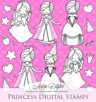 Fairytale Princess Digital Stamps printable line art digit