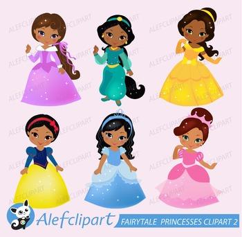 Fairytale princesses clipart 2 ( multicultural skin tones )