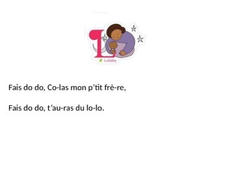 Fais Dodo Lullaby Lyrics with Teacher Resources at the end!  PPT