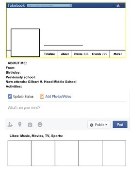 Fakebook Page: Advisory / Homeroom Getting to Know You