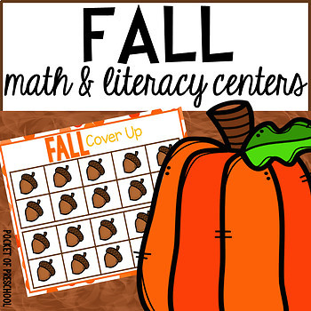Fall Math and Literacy Centers for Preschool, Pre-K, and K