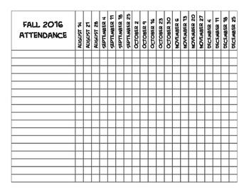 Fall 2016 Sunday School Attendance Chart