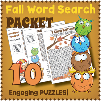 Fall Vocabulary Word Search Puzzle