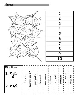 Fall ABC Order Cut and Paste