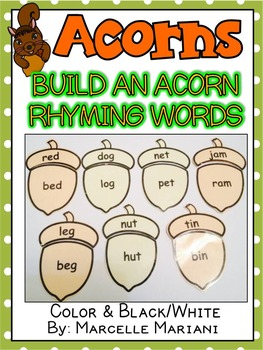 RHYMING ACTIVITIES- ACORN RHYMING PUZZLES- BUILD AN ACORN