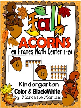 Fall- ACORNS-TEN FRAME PUZZLES- 1-10 & 10'S AND 1'S- COLOR+Bw