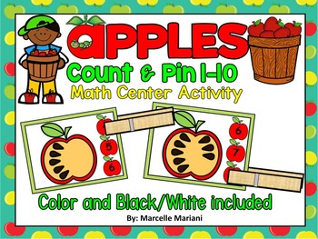 Fall- APPLES, Count & Pin Math Center Game- Color + Black