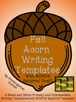 Fall Acorn Writing Templates 6 differentiated formats Prim