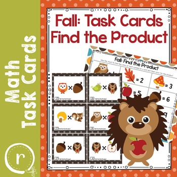 Fall Activities Find the Product Math Task Cards