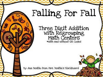 Fall Addition with Regrouping Math Centers- With and witho