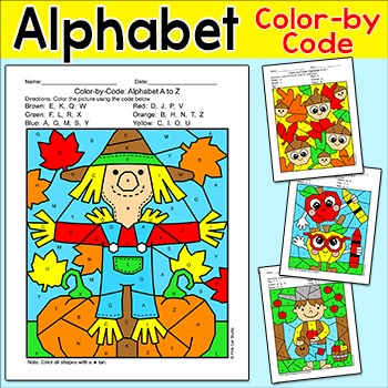 Fall Alphabet Color by Code Bundle - Johnny Appleseed, Sca