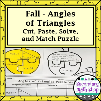 Fall - Angles of Triangles Cut, Paste, Solve, Match Puzzle