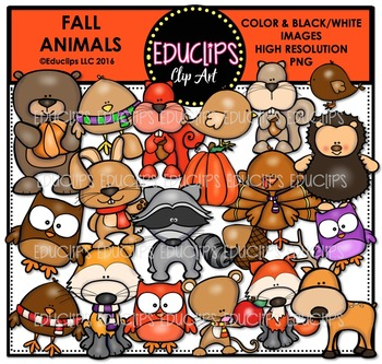 Fall Animals Clip Art Bundle