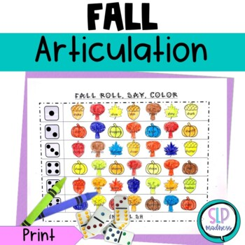 Fall NO PREP Articulation Roll Say Color - Sound Practice