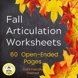 Articulation Fall Speech Therapy Worksheets -Data Friendly