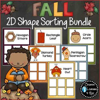 Fall Autumn 2D Shape Sorting Mat Bundle