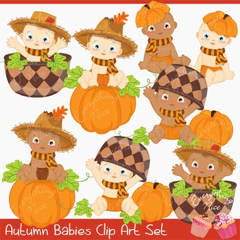 Fall Autumn Babies Clipart Set