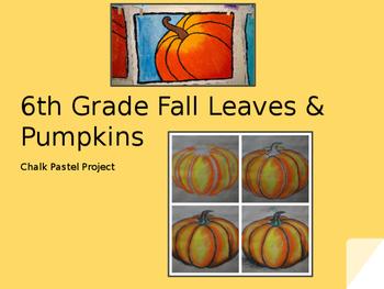 Fall/Autumn Chalk Pastel Pumpkins & Leaves, Powerpoint & W