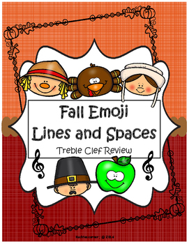 Fall/Autumn Emoji Treble Clef Lines & Spaces Review - Prin