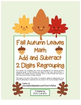 """Fall Autumn Leaves Math"" 2 Digit Subtract & Add -Regroupi"