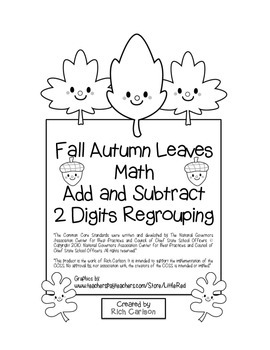 """""""Fall Autumn Leaves Math"""" 2 Digit Subtraction & Addition R"""