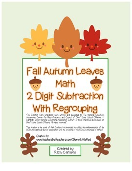 """Fall Autumn Leaves Math"" 2 Digit Subtraction - Regrouping"
