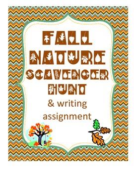 Fall/ Autumn Nature Ecology Outdoor Scavenger Hunt & Writi