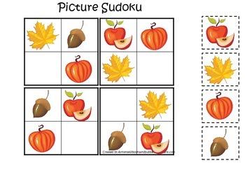 Fall Autumn Picture Sudoku preschool educational game.  Ch