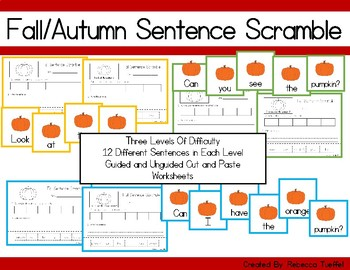 Fall / Autumn Sentence Scramble Cards and Cut and Paste Wo
