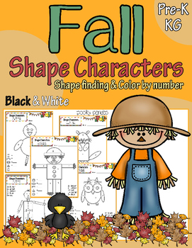 Fall/Autumn Shape Characters -Shape finding and color by number
