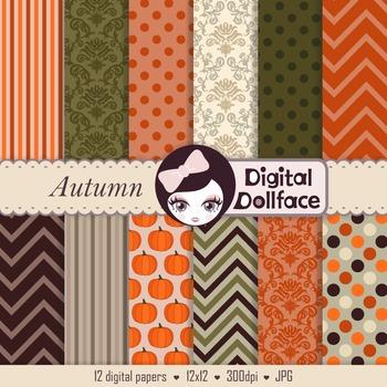 Fall / Autumn / Thanksgiving Digital Paper Backgrounds