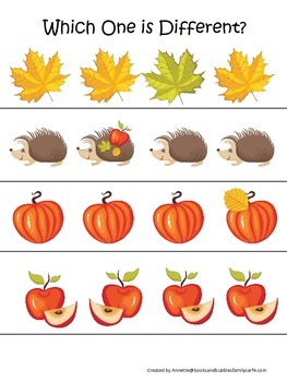Fall Autumn Which is Different preschool educational game.