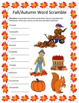 Fall/Autumn Word Scramble- 10 Words