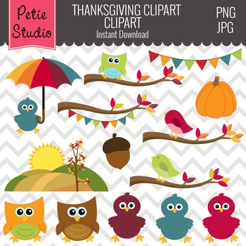 Fall Birds Clipart // Fall Trees Clipart // Tree Branch Cl
