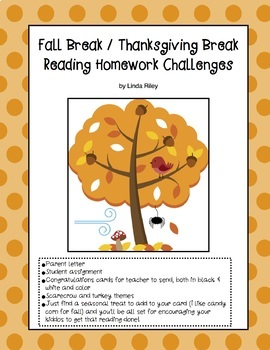 School Break / Holiday Reading Homework Challenges: Fall a