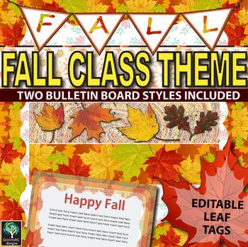 Fall Classroom Theme bulletin borders, editable tags, bann