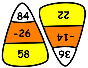 Fall Candy Corn 2-digit Subtraction with and without Regrouping