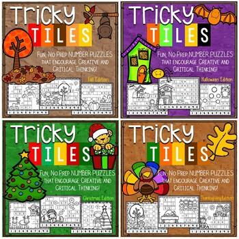 Fall/ Christmas Math Problem Solving Bundle - Tricky Tiles