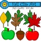 Fall Leaves, Apples and Acorns Clip Art