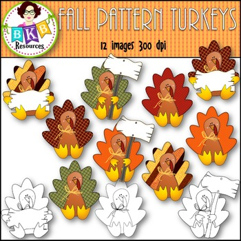 Fall Clip Art - Fall Pattern Turkeys