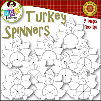 Fall Clip Art - Turkey Spinners - Black Line
