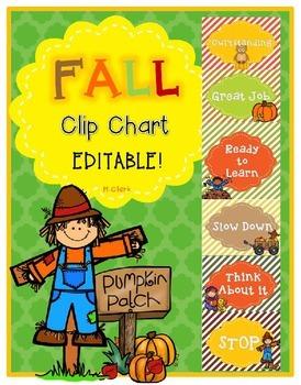 Clip Chart ~ EDITABLE!~ Fall Classroom Management