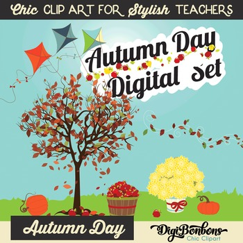 Elegant Clip Art: Autumn Day, Fall Day
