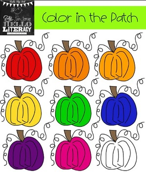 """Fall Pumpkin Clipart """"Color in the Patch"""" (for personal an"""