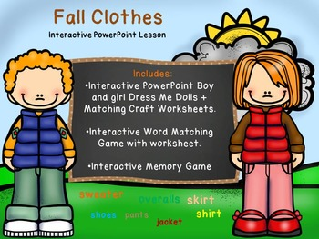 Fall Clothes - Dress Me Dolls PowerPoint Interactive Lesso